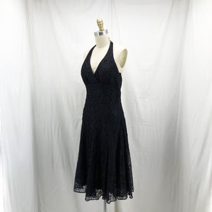 CACHE Black Beaded Halter Cocktail Dress